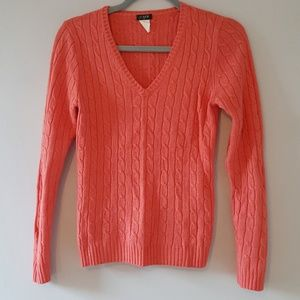 J.Crew Cable Sweater V neck Wool blend Cambridge